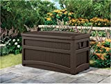 Suncast DBW7500 Deck Box with Wheels and Seat, 73 gallon