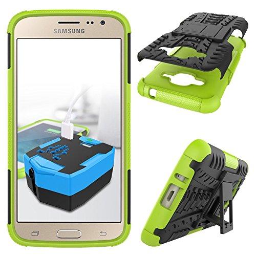 YHUISEN Nuevo Dual Layer Hybrid Armor Case Desmontable Kickstand 2 en 1 resistente a los golpes fuerte resistente cubierta de la caja para Samsung Galaxy J2 2016 J210 ( Color : Green ) Green