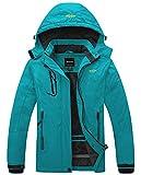 Wantdo Women's Waterproof Mountain Jacket Fleece Windproof Ski Jacket Hooded Jacket (US S) Blue Green