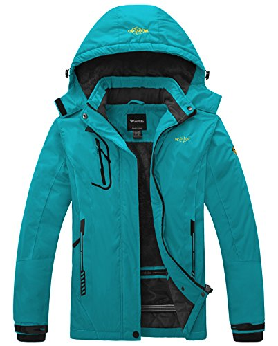 proof Mountain Jacket Fleece Windproof Ski Jacket Hooded Jacket Blue Green Medium ()