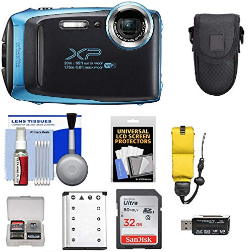 Fujifilm FinePix XP130 Shock & Waterproof Wi-Fi Digital Camera (Sky Blue) with 32GB Card + Battery + Cases + Float Strap + Ultimate Deals Cloth+ Accessory -