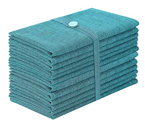 Cotton Clinic Grass-Cloth 20x20 Oversized Dinner Napkins Teal - Set of 12 ()