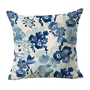 Ruideng Flower Cotton Linen Square Throw Pillow Case Decorative Cushion Cover Pillowcase Cushion Case for Sofa,Bed,Chair,Bedding 18 X 18 Inch (Blue)