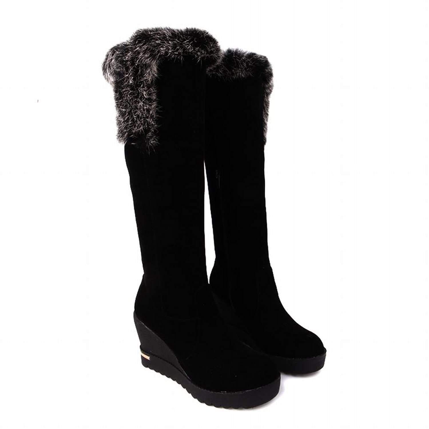 Charm Foot Fashion Cony Hair Platform Wedge Knee High Snow Boots
