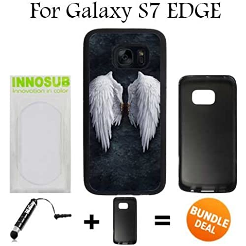 Angel Wings On Wall Custom Galaxy S7 EDGE Cases-Black-Rubber,Bundle 2in1 Comes with Custom Case/Universal Stylus Pen by innosub Sales