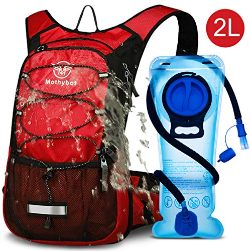 Mothybot Insulated Hydration Backpack Pack with 2L BPA Free Waterproof Bladder Hiking Backpack with Storage for Kids, Men/Women- Keep Liquid Cool up to 5 Hours – for Running,Cycling,Camping,Outdoors