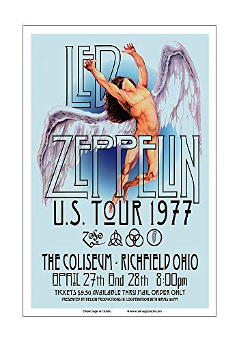Raw Sugar Art Studio Led Zeppelin 1977 Cleveland Concert Poster ()
