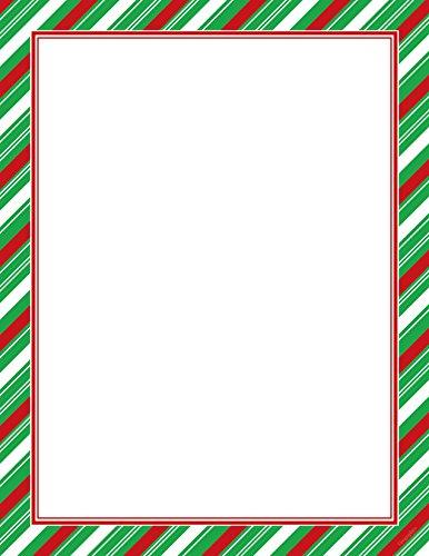 """Candy Cane Green Foil Stripe Christmas Letterhead, 8.5""""x11"""", 40/PK"""