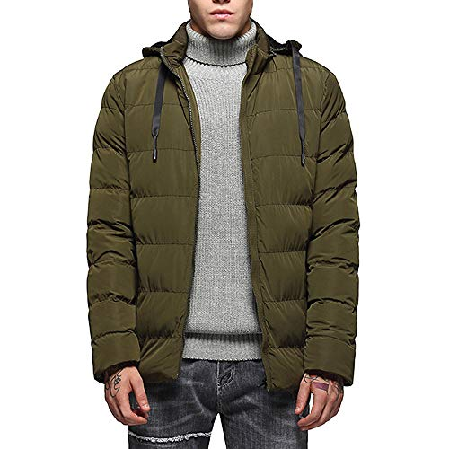 Seaintheson Men's Hooded Sweatshirt,Fashion Thermal Long Sleeve Pullover Hoodie Autumn Winter Casual Zipper Jacket Top Coat (Baby Thermal Long Sleeve Henley Army Green)
