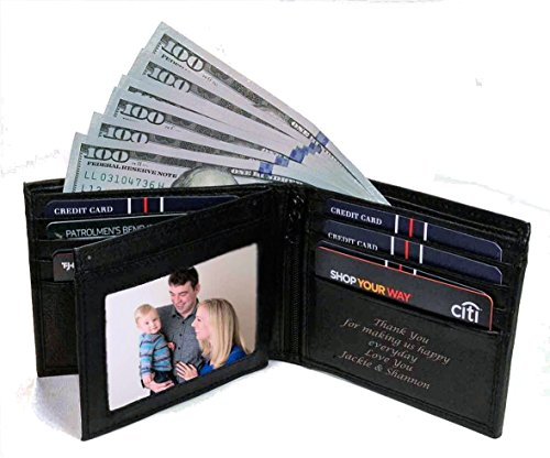 Personalized Black Leather Men's Bi-fold Wallet Engraved Free
