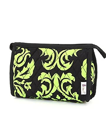 a110d510779337 Amazon.com   Belvah Quilted Damask Cosmetic Case Tote - Black   Lime    Cosmetic Tote Bags   Beauty