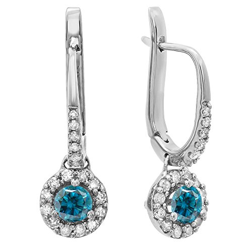 (Dazzlingrock Collection 0.45 Carat (ctw) 18K Round Blue & White Diamond Ladies Halo Drop Earrings 1/2 CT, White Gold)