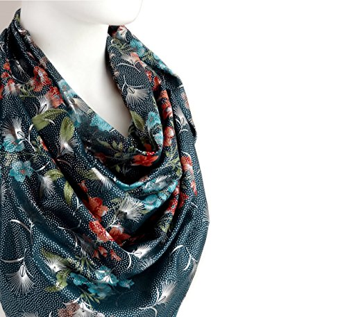 Sparkly Elegant Spring Summer Scarf Blue-Green Silvery Floral Print Soft Cotton Large Square 38 x 38 inches