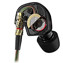 Airsspu Earphones Hi-fi High Resolution Heavy Bass Wired Headsets In-ear Stereo Headphones Earbuds with Microphone(black)