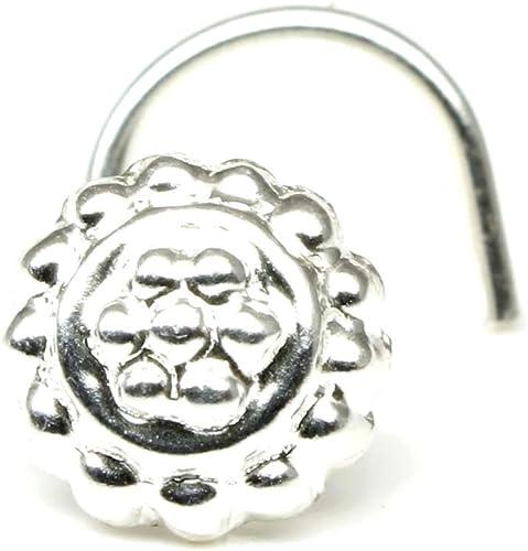 Karizma Jewels Silver Nose Stud Corkscrew Piercing Nose Ring L Bend 22g