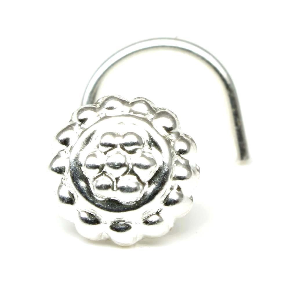 Karizma Jewels Silver Nose Stud, corkscrew piercing nose ring L Bend 22g