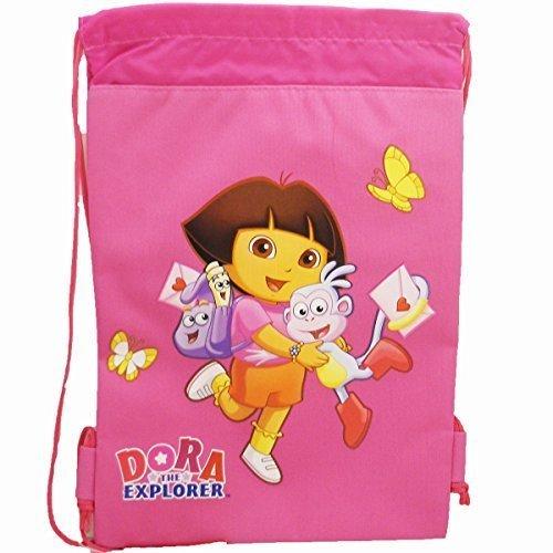 (Dora the Explorer Drawstring Backpack in Magenta For Children. Nick Jr. Dora Sling Nylon Travel Bag (Dimension: 15