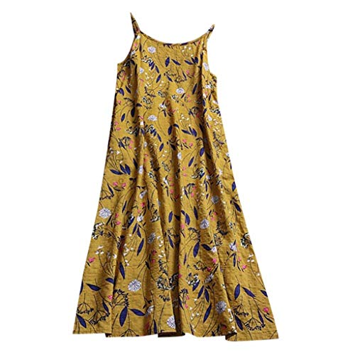 Women Sleeveless Dress Vintage Sundress Beach Party Boho Floral Print Dress Yellow