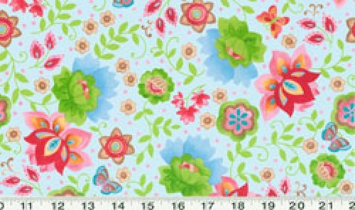 - 1 Yard Suzette by Sue Zipkin from Clothworks Light Aqua Floral 100% Cotton Quilt Fabric Y0911-32