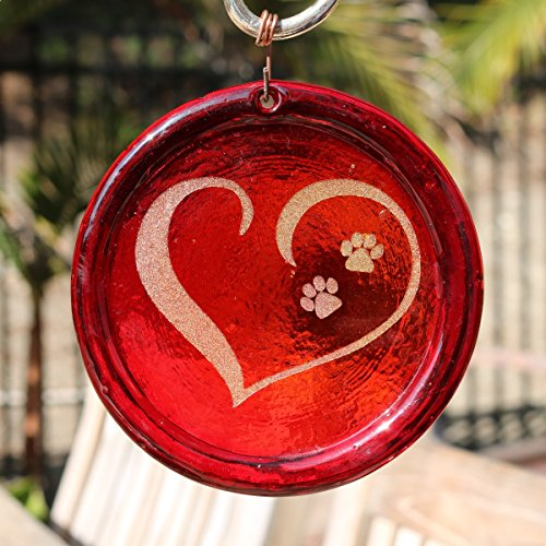 4-Inch Etched Tiny Puppy Paw Prints In An Open Heart Suncatcher from our Valentines Collection - Made In the USA. A Great Gift For Anyone. Colorful Suncatchers Bring a Room or View To Life. (Suncatcher Dog)