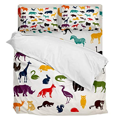 Fantasy Star Comforter Bedding Set Wild Animal Silhouette Home Decoration 4 Piece Duvet Cover Set Include 1 Flat Sheet 1 Duvet Cover and 2 Pillow Cases Queen Size