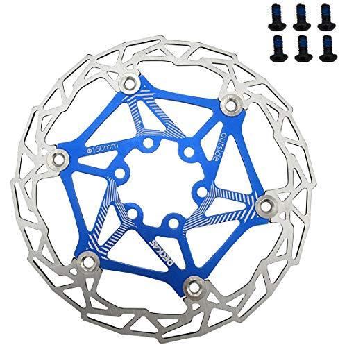 DECKAS Bike 160mm 6 Bolt Disc Rotor Brake, Bolts Disc Floating Rotor for MTB Mountain Road BMX Cycling (6 x Brake Screws) (Blue)