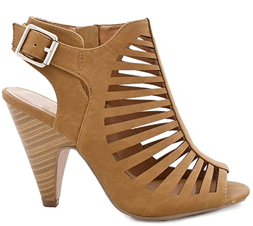 Charles Albert Women's Gladiator Strappy Cage Stacked Mid Heel Ankle Bootie (8, Tan) ()