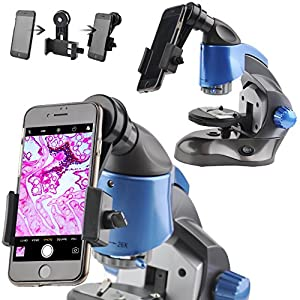 Landove 26X-128X Zoom Compound Monocular Microscope for Student and Kids Education,New Design With USB Charging and LED Light