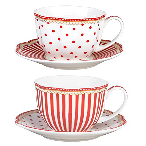 (Grace Teaware Red Dot Stripes Scallop 9-Ounce Porcelain Tea/Coffee Cup and Saucer, Set of 2)