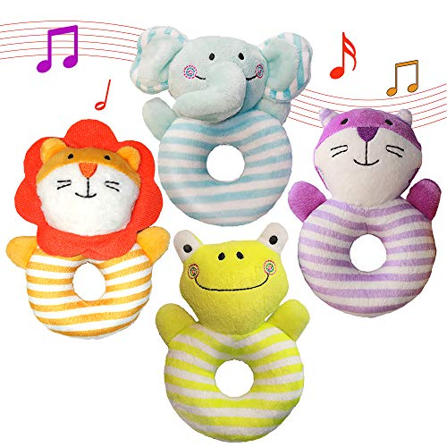 Aminord 4PCS Soft Rattle Baby Toys, Developmental Toy for 3, 6, 9, 10, 12 Month Newborn Infant - Elephant, Lion, Frog, Cat from Aminord