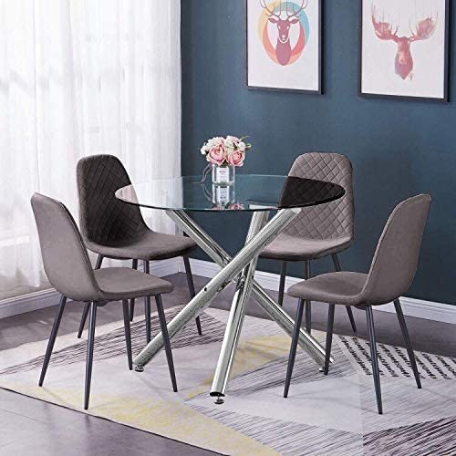 Huisen Furniture Round Glass Kitchen Dining Table And Chairs Set Of 4 Grey Velvet Upholstered Office Reception Occasional Chairs And Clear Tempered Glass Table Conversational Table And Chairs Set Amazon Co Uk Kitchen