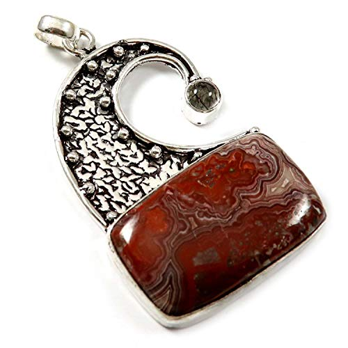 GoyalCrafts Silver Plated Pendant Natural Crazy Lace Agate Rutilated Quartz Gemstone GPH178 ()