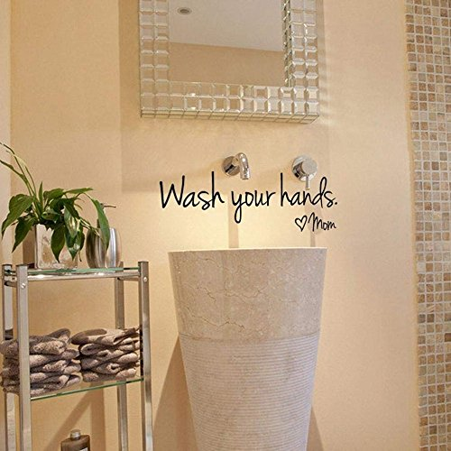 Hecentur Wash Your Hands Love Mom Bathroom Wall Stickers Waterproof Art Vinyl Decal Bathroom Wall Decor