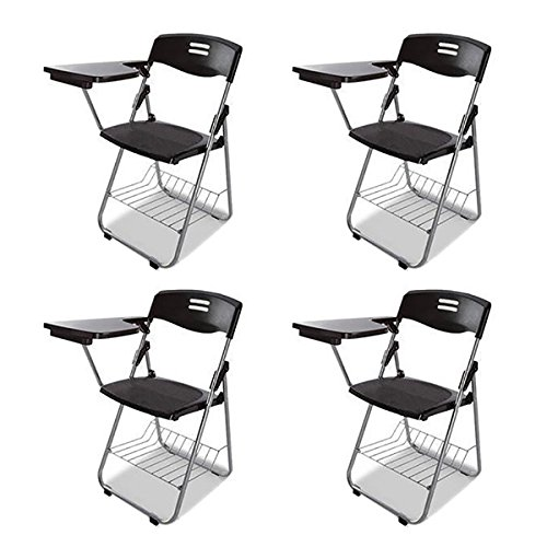 MIRAIS 簡単収納 テーブル 付き 一体型 チェア 折り畳み式 会議 自宅 介護 収納 簡易 ブラック 4台セット MR-CHAIRBLE-BK-4 B074X315NK Parent ブラック(4台セット)