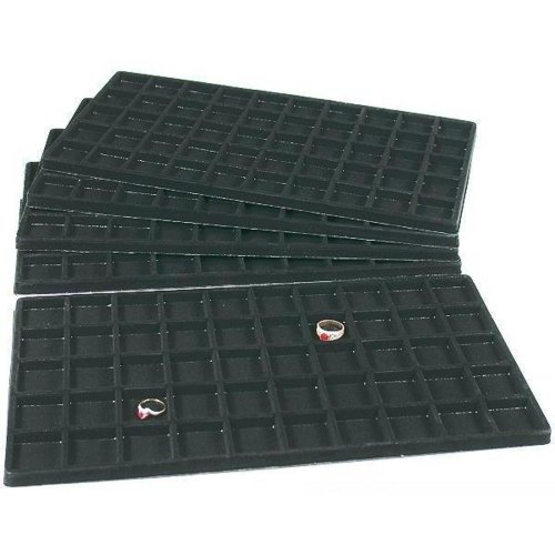 FindingKing 5 Black 50 Slot Pendant Jewelry Showcase Display Tray Inserts from FindingKing