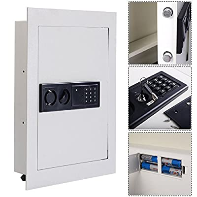 0.8CF Digital Flat Recessed Wall Safe Home Security Lock Gun Cash Box Electronic