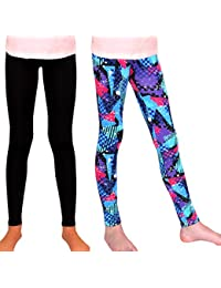 Girl Leggings High Rise Red&Blue Triangles and Black
