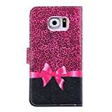 DAMINFE Case for Galaxy S6 Edge,Pink Wallet Case