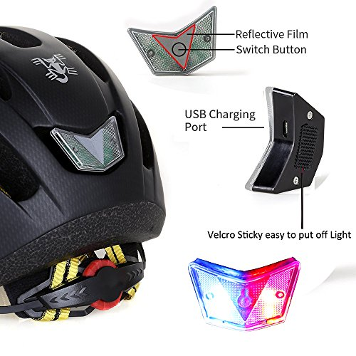 KINGBIKE Batfox Adult Bike Helmet,Rechargeable Safety Rear Colorful Light,Cloth Visor with Rain Cover for Road Commuter Street