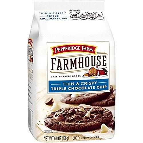 - New! Pepperidge Farm Farmhouse Thin & Crispy Triple Chocolate Chip Cookies 6.9oz (U)D