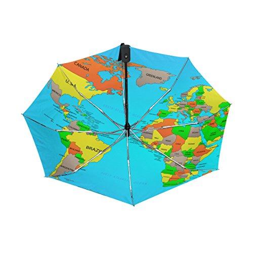 World Map UPF 50+ Anti-UV Parasol Waterproof Windproof Reverse 3 Folds Auto Open Close Lightweight (Bubble Wrap Jellyfish Costume)