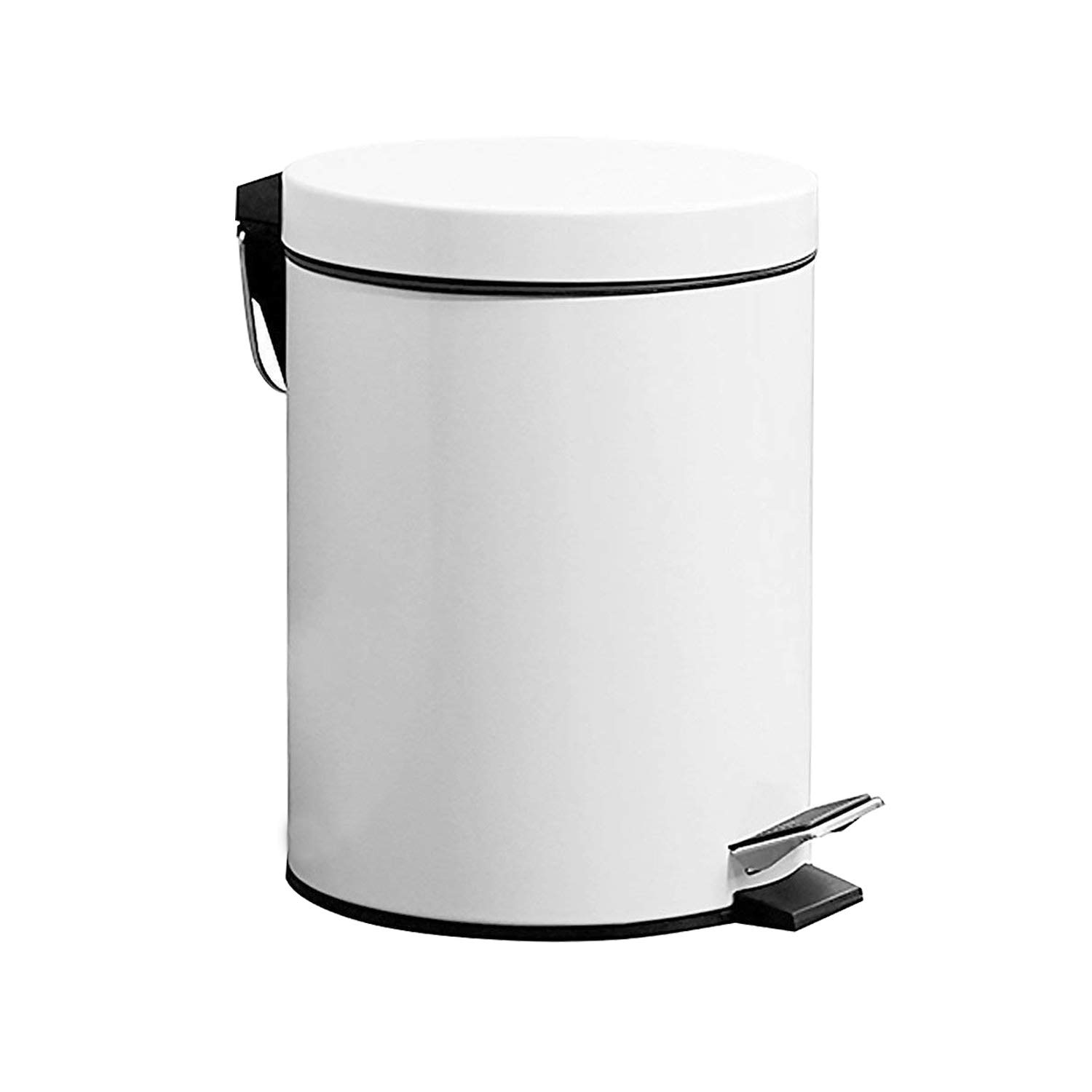 GiniHome Small Trash Can for Kitchen & Bathroom, Garbage Bin-Soft Close, Waterproof and Easy to Clean-5 Liter/1.3 Gallon (White)