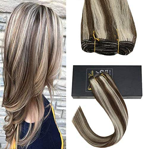 Sunny 18inch 7A Quality Sew in Hair Extensions Human Hair Piano Color Dark Brown with Bleach Blonde Brazilian Hair Bundles One Bundle 100G Weight