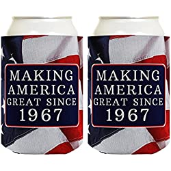 Republican Gifts for 50th Birthday Making America Great Since 1967 50th Birthday Gag Gifts for Republican Party 2 Pack Can Coolie Drink Coolers Coolies USA Flag