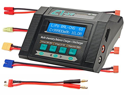 C1-XR AIR 10Amps 100Watts LiPo LiHV LiIo LiFe NiCd NiMh AC/DC Multi-Chemistry Balancing Battery Charger w Internal Resistance Terminal Voltage Control Battery Meter Deans XT60 EC3 Tamiya Mini - Charger Nimh Canada Battery