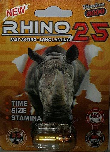 RHINO 25 8000MG 3D TITANIUM All Natural Male Enhancement- 3 Pills