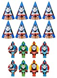 Thomas the Train Tank Engine ( Thomas & Friends ) Birthday Party Favors Pack Including Blowouts, and Party Cone Hats - 8 Guests