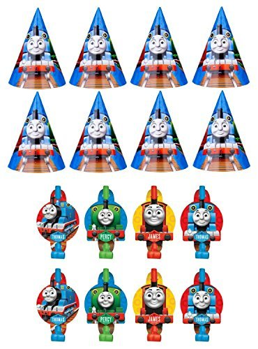 Thomas the Train Tank Engine ( Thomas & Friends ) Birthday Party Favors Pack Including Blowouts, and Party Cone Hats - 8 Guests - Thomas The Tank Cone Hats