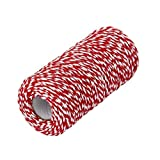 1 Roll 100m/328 Feet Multifunctional Cotton Bakers Twine String Glass Bottle Gift Box Decor Craft Packing Rope Perfect for Baking Butchers Wrapping (Red+White)