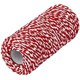 1 Roll 100m/328 Feet Multifunctional Cotton Bakers Twine String Glass Bottle Gift Box Decor Craft Packing Rope Perfect For Baking Butchers and Christmas Gift Wrapping (Red+White)